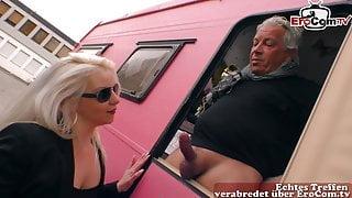 Stupid German blonde seduced at Street pick up