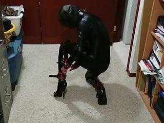 Amateur self bondage video - Catsuit self bondage hogtie 2