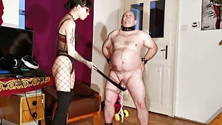 Goth domina painful CBT & bellypunch her fat slave pt2