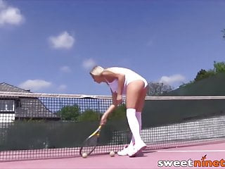 Female tennis player pussy - Young blonde cayla masturbated after teasing hard at tennis