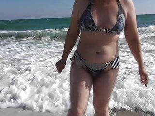 Hairy bikini Hairy mature in bikini on the beach