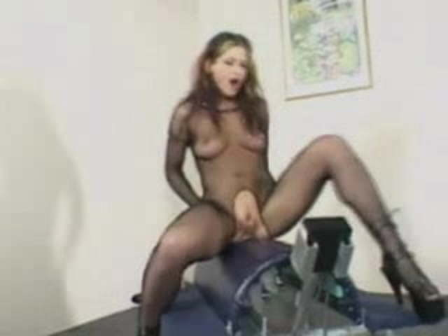 Catsuit Stockings Woman Rides Fuck Machine To Orgasm