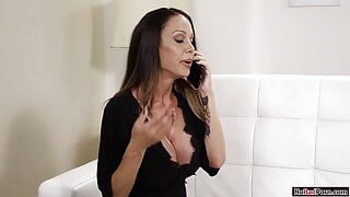Stepson licks and fucks busty mature stepmoms shaved pussy