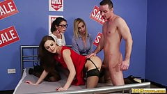 CFNM babe riding lucky dudes cock in groupsex