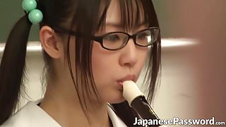 Cute Japanese schoolgirl loves playing with her tasty twat
