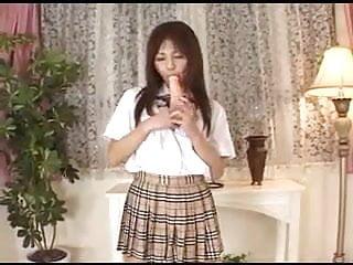 Dildo japanese teen - Japanese cutie dildos her tight hairy pussy