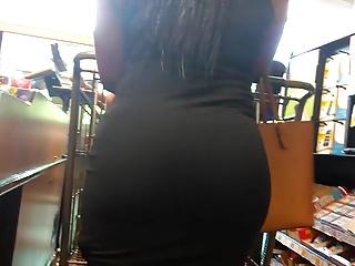 Black brown milf Pretty brown round bubble booty checkout line