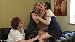 Perfect old and young lesbian threesome
