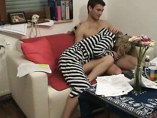 Milf teacher sucking Guy fucking with her teacher, she rides and suck cock