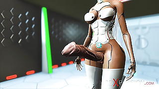 3d sci-fi android dickgirl fucks sexy girl in space station