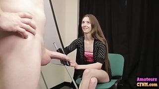 Voyeur cock artist gives femdom handjob