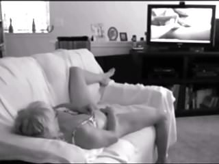 Wife was watching porn - Wife caught on film camera masturbating on watching porn