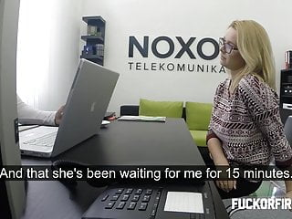Boss fucks blonde in office - Horny blonde secretary fucks her boss in the office