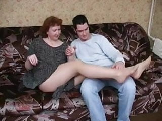 Mature mom boys - Russian mature mom in pantyhose and her boy amateur