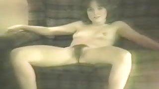 80s girl strips in living room