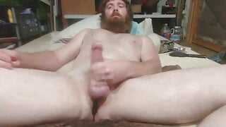 bearded redneck daddy jacks out a load
