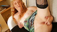 Euro milf Angelina fucks herself with fingers and dildo