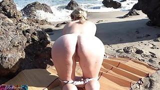 Peeping voyeur fucks blonde MILF on the beach