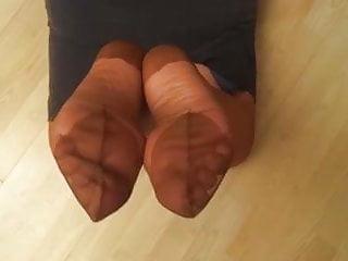 Rht stockings foot job On the floor in tan rhts 2