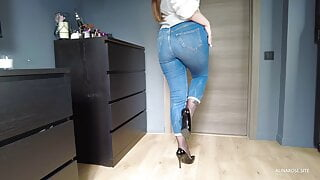 Hot wife pulls jeans down and teases ass in pantyhose