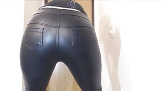 Cute blonde farting in black leather trousers