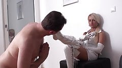 Femdom sluts order slaves to clean their boots