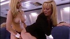 Strapon fuck on the ariplane