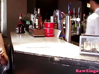 Stood on penis - Glam anal eurobabe fucks barman when stood up