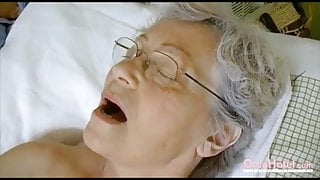 Granny's Hairy Pussy Filled With Adult Toys