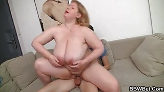 Huge titted fatty jumps on big cock