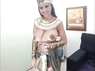 Girl with small top big boobs Cosplay egyptian with massive boobs