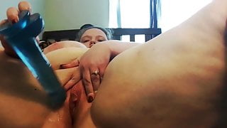 BBW slut toying her wet pussy