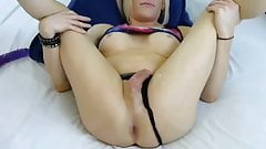 Blonde TGirl cumming