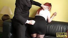 Humiliated euro sub slut doggystyled on leash