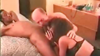 Cuckold Sissy Secret sucking BBC bull off with wife