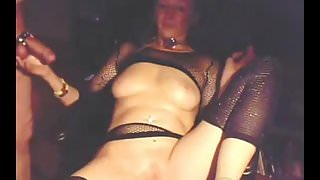 Check My MILF granny in fishnet stockings playing with pussy