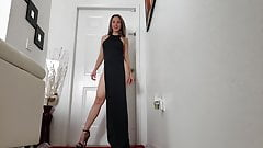 Posing in black high heels & long dress with high slit legs