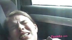 Pussy licking in the car, amateur bitch