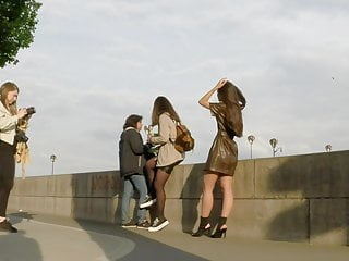 Hot sexy high resulution photo Photo shoot pretty brunette leather mini dress and high heel