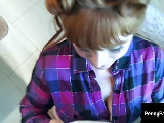 Sexy ginger tits - Sexy ginger penny pax face fucked in the bathroom