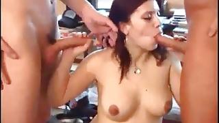 pregnant slut and two men