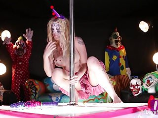 Clown girl sex Clown leya falcon plays with a big purple dildo