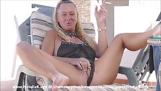 NatalieK smoking & fingering outdoors in PVC lingerie