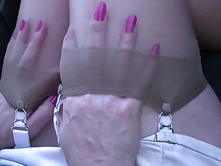 Couple sex top play Stocking top play in car