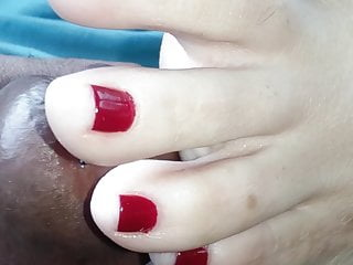 Mature ladies painted toes - My ex playing with my precum with her red painted toes