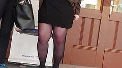 Milf in short black skirt pantyhose upskirt oops