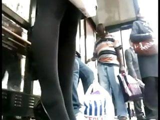 Mature woman likes high heels and short skirts Black nylon short skirt high heels waiting for bus