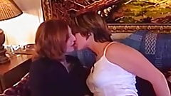 Cute amateur lesbians waste no time tongue fucking wildly