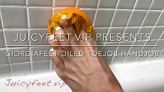 Young slut gives oiled footjobs - Giorgiafeet