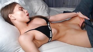 Super fit girl rubs her pussy and cums in thong